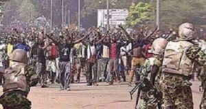 soldiers and biafra protesters%B%D